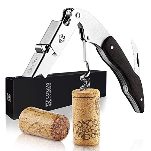 CORKAS Wine Openers All-in-one Bottle Opener, Waiters Corkscrew, Wine Key and Foil Cutter for Sommeliers, Waiters and Bartenders with Natural Ebony Handle