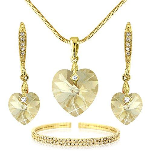 Swarovski Elements Champagne Colour Crystal Jewelry Heart Set - Bracelet Necklace Earrings - Gold Tone