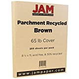JAM PAPER Parchment 65lb Cardstock - 8.5 x 11 Letter Coverstock - Brown Recycled - 250 Sheets/Ream