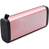Portable Bluetooth Speakers Wireless Stereo Sound Bass Music Box with Built-in Microphone Support Micro SD Card for iPhone Samsung Cell Phone PC Laptop for Outdoor Travel or Home - Rose Gold