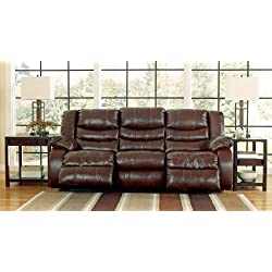 Signature Design by Ashley 9520188 Linebacker DuraBlend Collection Reclining Sofa, Espresso