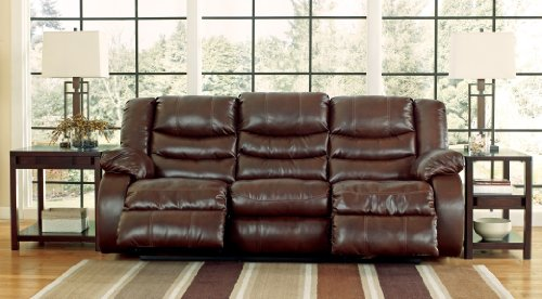Durablend Reclining Sofa (Linebacker DuraBlend 9520188 87 Reclining Sofa Pillow Top Arms Divided Back Cushions and Detailed Stitching in Espresso)