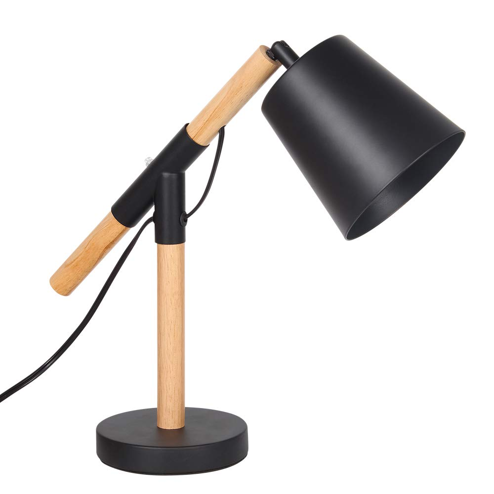 Adjustable Table Lamp for Reading and Working, Industrial Study Desk Lamp with Adjustable Head for Office Dorm Bedroom Wooden Reading Light with Metal Lampshade