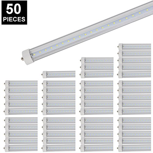 CNSUNWAY LIGHTING 8ft LED Tube, 96'' 45Watt T8 FA8 Single Pin LED Bulbs With Clean Cover, 4800LM Super Bright 6000K Cool White (50) by CNSUNWAY LIGHTING