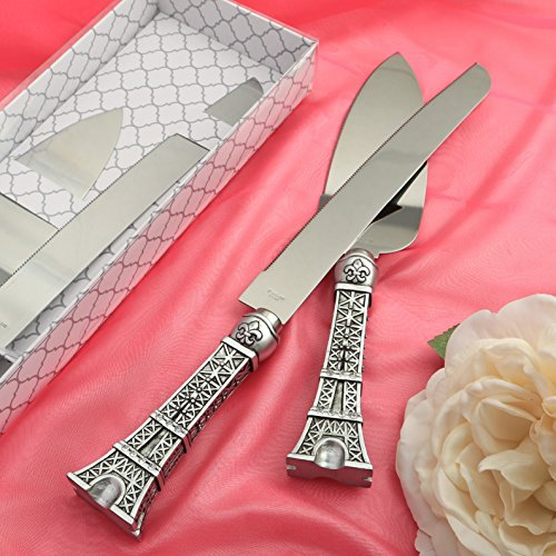 Engraved Personalized Eiffel Tower Design/Paris Themed Stainless Steel Cake Cutter and Knife Set