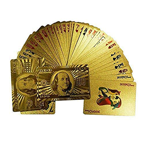 Potelin Creative and Beautiful Gold Foil Playing Cards Waterproof Plated Poker 100 Dollar Pattern - Plated Poker
