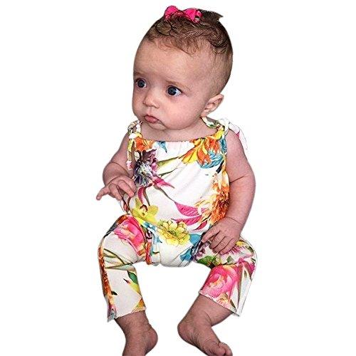 Weixinbuy Infant Baby Girls Summer Floral Flower Halter Romper Bodysuit Clothes