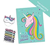 Pop Fizz Designs Pin The Horn on The Unicorn Party Game | Teal Unicorn Party Supplies | Unicorn Game for Girl's Birthday Party- Includes Poster, Horn Stickers and Unicorn Blindfold