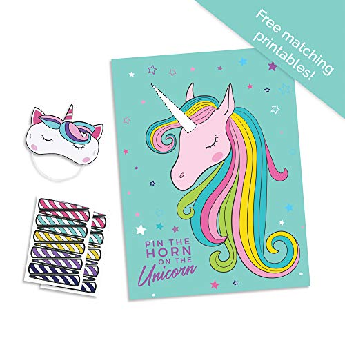 Pop Fizz Designs Pin The Horn on The Unicorn Party Game   Teal Unicorn Party Supplies   Unicorn Game for Girl's Birthday Party- Includes Poster, Horn Stickers and Unicorn Blindfold by Pop Fizz Designs