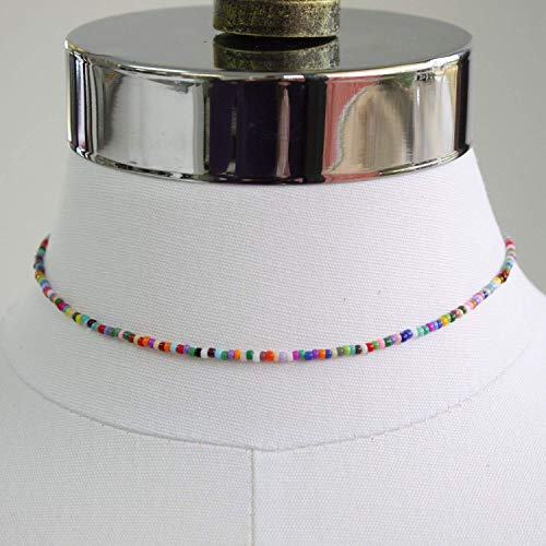 (Tiny Multi Color Rainbow Choker, Adjustable 14-15 Inches )