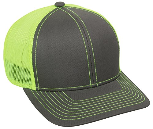 Outdoor Cap Structured Mesh Back Trucker Cap, Charcoal/Neon Yellow, One Size - Back Structured Cap