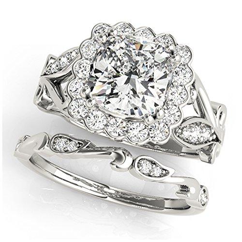 14K White Gold Unique Wedding Diamond Bridal Set Style MT51049