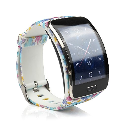 honecumi for Samsung Galaxy Gear S R 750 Watch Wrist Band Strap Replacement Accessory Adjustable Colorful Pattern Watch Bands/Bracelet for Men & Women with Secure Buckle -Free Size(No Tracker)