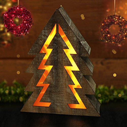 "BRIGHT ZEAL Wooden Christmas Tree with LED Lights (14.5"" Tall Christmas Tree Shape, 8hr Timer, Batteries Included) - Wooden Xmas Tree Decorations - Christmas Tree Shaped Lights Decorative Signs 24011"