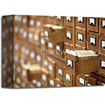 Database Concept. Vintage Cabinet. Library Card Or File Catalog. Paper Print Wall Art Gallery Wrapped Canvas Art (8in. x 10in.)