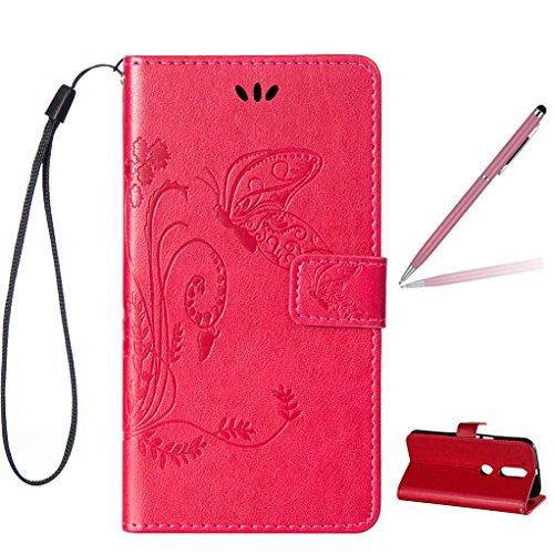 Trumpshop Smartphone Carcasa Funda Protección para Motorola Moto G4 / Moto G4 Plus + Rojo + PU Cuero Caja Protector Billetera con Función de Soporte Ranuras para Tarjetas Crédito Choque Absorción Rojo