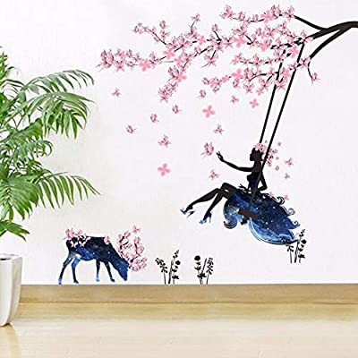 K107LOI % DIY Romantic Flower Fairy Swing Butterfly Wall Stickers Kids Room Wall Decor Bedroom Living Room Girls Room Decal Poster Mural-ZYPB-SK9005-NN-: Kitchen & Dining