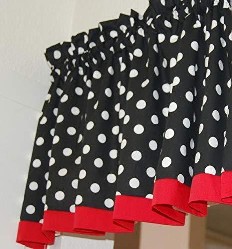 Amazon Com Red Black Polka Dot Mickey Minnie Mouse Kitchen Fabric Decor Window Treatment Curtain Topper Valance Handmade