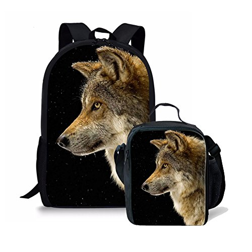 Dellukee Durable Children School Backpack Set Boys Girls Lunch Bag Wolf Print