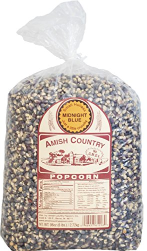 Amish Country Popcorn - Midnight Blue Popcorn 6 Pound Bag - Old Fashioned, Non GMO, and Gluten Free- with Recipe Guide and 1 Year Extended Freshness Warranty
