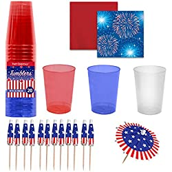 Red White & Blue Party Cups, Beverage Napkin and Drink Umbrella Set