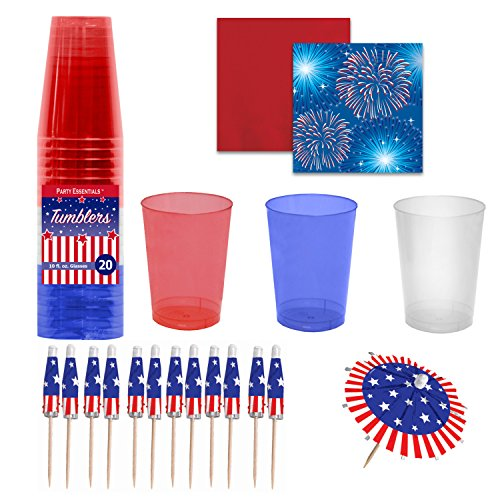 Labor Day Party Supplies - Red, White & Blue Plastic Cups with Beverage Napkins & Jumbo Umbrella Cocktail Picks / Drink Stirrers -- Fireworks & Flags Theme