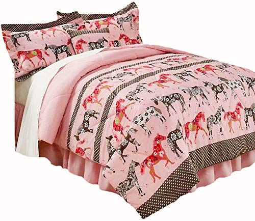 (WESTERN HORSE 4 Pieces TWIN SIZE Girls Flower Mustang PONY Pink Comforter Set & VALANCE(20