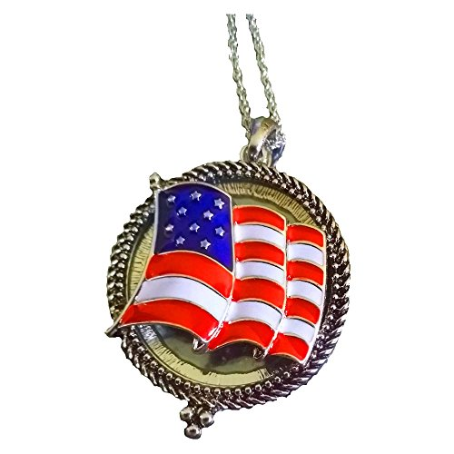 Magnifying Glass Pendant Necklace (American Flag Gold) (Gift Baskers)