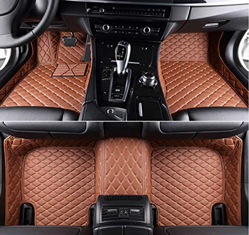 Summir Fit for Audi A8 4 Seats 2011-2016 Leather Car Floor Auto Mats Waterproof Mat Non Toxic and inodorous (Brown)