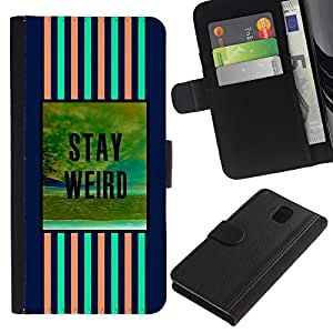 Billetera de Cuero Caso del tirón Titular de la tarjeta Carcasa Funda del zurriago para Samsung Galaxy Note 3 III N9000 N9002 N9005 / Business Style stay weird blue pink text motivational