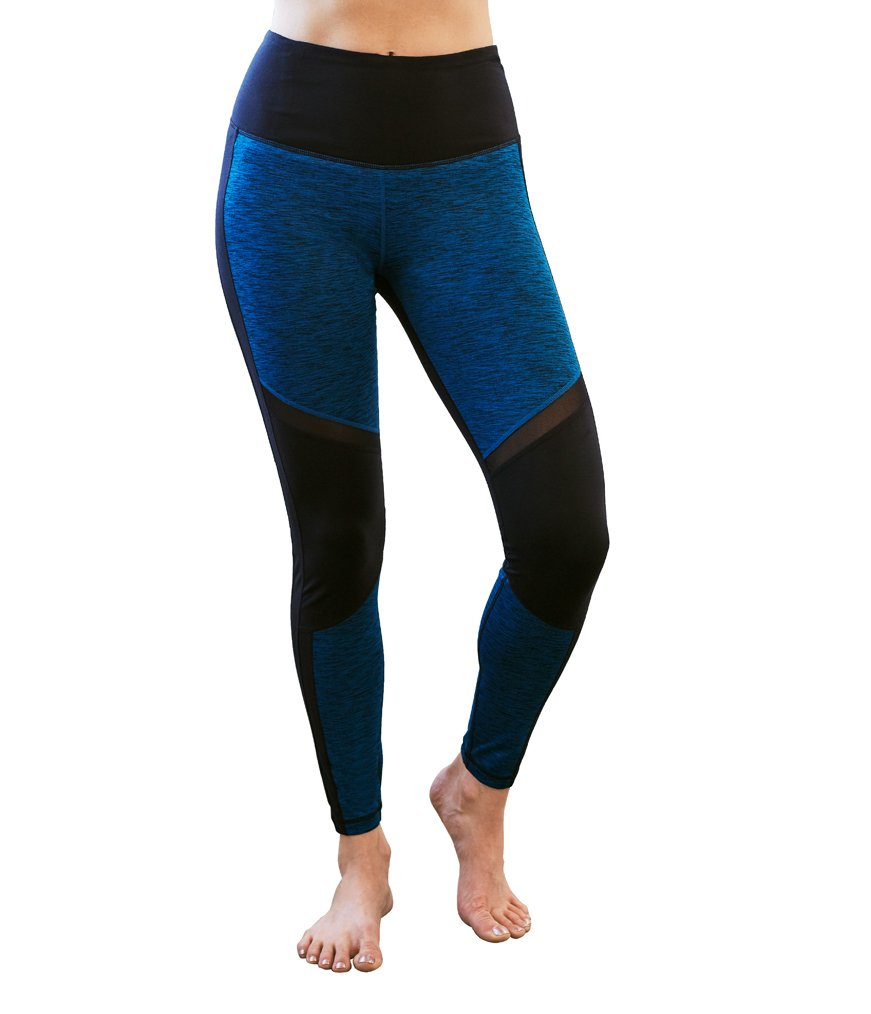 Manduka Women's Racer Breathable Sheer Mesh Insert Yoga Legging, Medium, Maldive