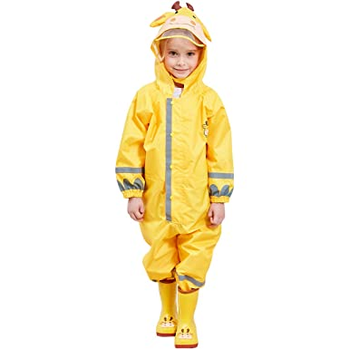 Zilee Niños Traje de Lluvia Chubasquero - Niña Traje de Lluvia para Niños Impermeable Pantalones Chubasquero Poncho,Deportes,Cámping,Viajes,Al Aire ...