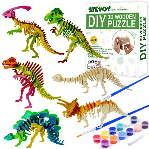 STEVOY DIY 3D Paint Wooden Puzzles Kit for Kids, Pack of 6 Dinosaur, Model Paint Kit with Brush Toys for Children, Educational Crafts Building STEM…