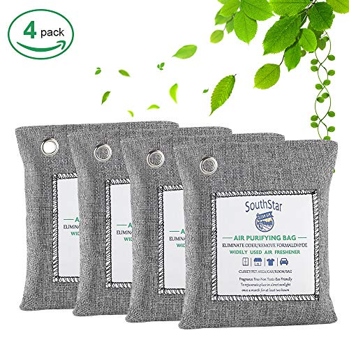 SouthStar Bamboo Charcoal Air Purifying Bag-Nature Fresh Air Purifier BagsCharcoal Bags for Car,Closets,Bathroom and Pet Areas,Car air Fresher 200G 4Pack (Foods To Eat To Get Pregnant Easily)