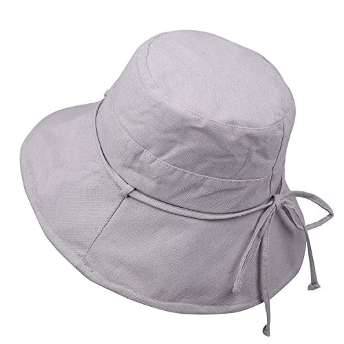 Women's Foldable Sun Hat with Chin Strap Solid Summer Cotton Booney Bucket Hat Wide Brim Size Adjustable (Light (Crushable Bucket)