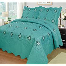 MarCielo 3-Piece Fully Quilted Embroidery Quilts Bedspreads Bed Coverlets Cover Set, Cal King Size, Oversize, Turquoise, White, Black, Emma