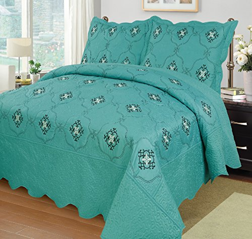 MarCielo 3-Piece Fully Quilted Embroidery Quilts Bedspreads Bed Coverlets Cover Set, Cal King Size, White, Black, Emma(Oversize, Turquoise) (King Size Quilt Set Bed)