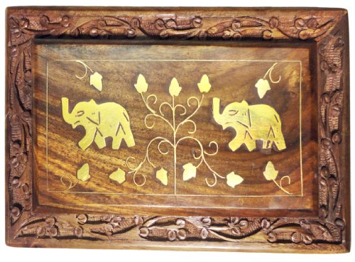 - Box Jewelry Keepsake Trinket Hand Carved Rosewood Storage Box with Intricate Carvings Elephant Brass Inlay by aheli