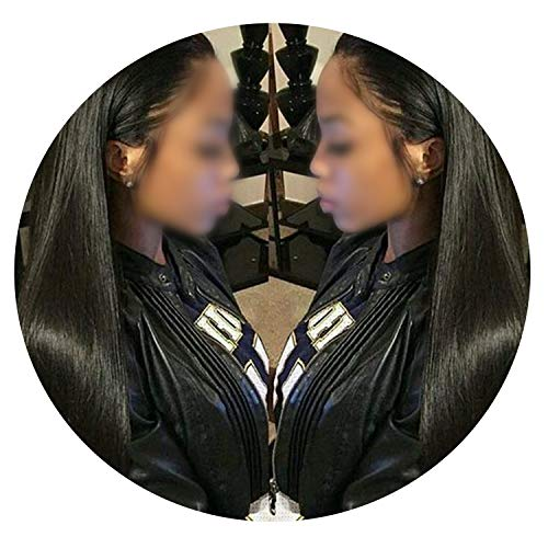 Straight Lace Front Human Hair Wigs Brazilian Remy Hair Wig Natural Hairline,Natural Color,12inches