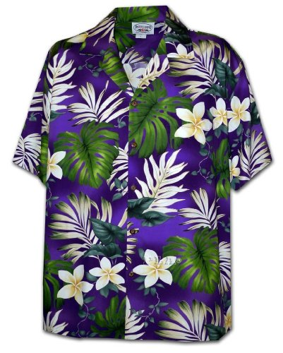 Pacific Legend Tropical Floral Monstera and Plumeria Hawaiian Shirt Purple Small