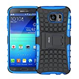 Case for Samsung Galaxy S6 ,Fetrim Rugged Dual Layer Shockproof TPU Case Protective Cover for Samsung Galaxy S6 with Built-in Kickstand (Blue)
