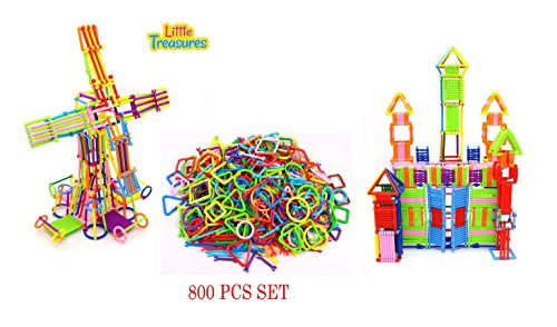 Brain Intelligent Game (Intelligent Stix Game 800 Pc Stick Together Puzzle Set from Little Treasures with 260 Pc Snap Together Circles, Squares, Triangles and Connecter Rods.)