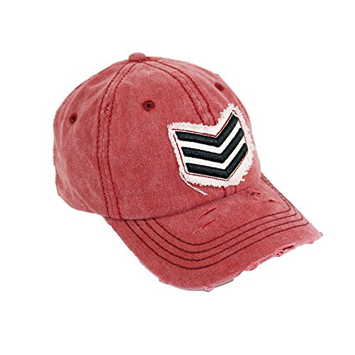 Sergeant Embriodery Washed Hat Adjustable Army Rank Vintage Baseball Cap (Red)