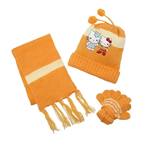 CTM Kids' Hello Kitty Hat Scarf and Gloves on a String Winter Set, Yellow ()