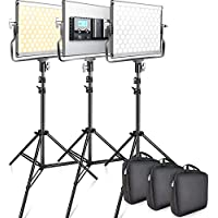 FOSITAN 3 Packs Dimmable Bi-color LED Video Light Kit with LCD Display, U Bracket Studio Lights 3200K-5600K CRI 96+ 3x79-inch Adjustable Light Stand for YouTube Studio Photography, Interview Portrait