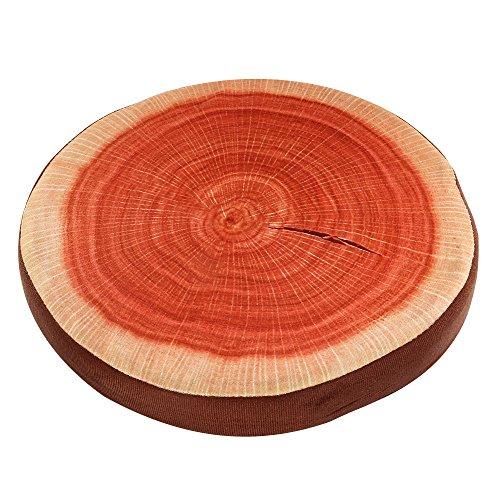 - Round Wood Tree Soft Plush Chair Seat Cushion Stump Shaped Pillow (Wood, 32x32x4.5CM)