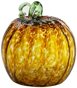Kitras 10-Inch Large Round Pumpkin Home Decor, Amber