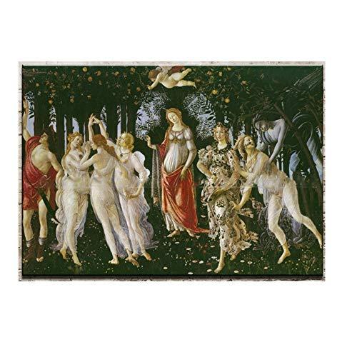 WJWGP Sandro Botticelli Alessandro Filipepi ClaSico Decoracion Marco De La Famoso Primavera Retrato oLeo Pintura Poster Imprimir Paisaje Pared Cuadros 80x120cm No Marco