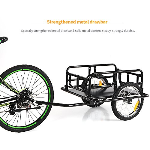 IKAYAA Folding Bike Cargo Trailer Hand Wagon Bicycle Luggage Trailer Storage Cart Carrier with Detachable Metal Frame Hitch by IKAYAA (Image #6)