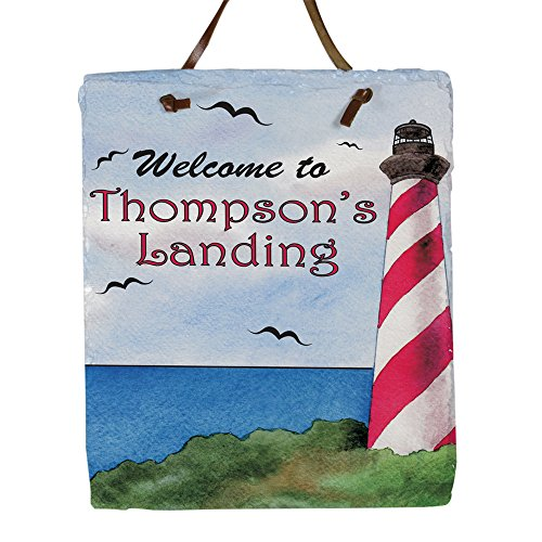 [Personalized Lighthouse Welcome Slate Plaque, 11 H